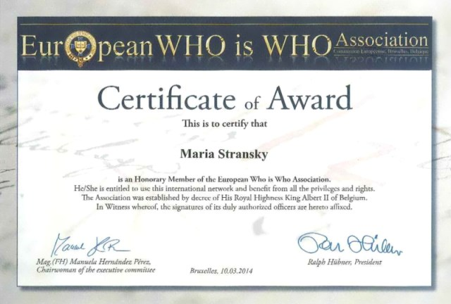 Who is Who Certificate of Award